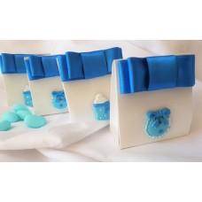 Blue resin embellishment Christening favours