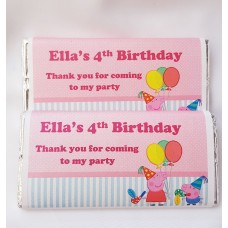 Peppa Pig Birthday Party Personalized Chocolate Bar