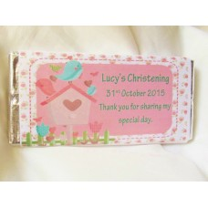 Bird Pink Christening Girl Personalized Chocolate Bar