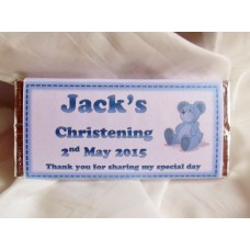Christening boy personalised chocolate bar with teddy bear