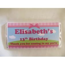 Personalised children chocolate bars/girl