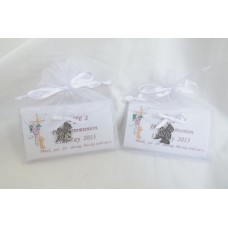 Personalised First Communion Chocolate bar in satin bag with charm