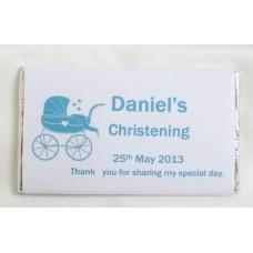 Pram personalised Christening chocolate bar