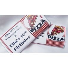 Pizza party personalized chocolate bar