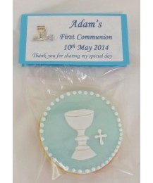 Blue First Communion Chalice biscuits