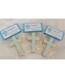 Blue First Communion Cross biscuits