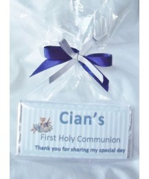 BOY First Communion Personalized Chocolate Bar with Stripes