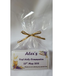 Chalice and Bible Communion Personalised chocolate bar