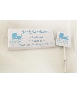 Christening boy personalised chocolate bar & lollipop set