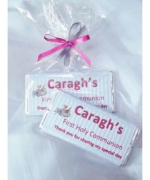 Girl First Communion Personalized Chocolate Bar with Stripes