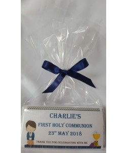 Holy Communion Boy Personalised Chocolate Bar with Frame