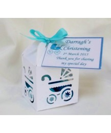 Laser cut pram Christening favour (boy)