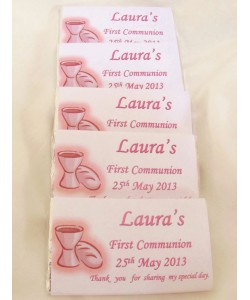 Pink Communion Chalice Personalised Chocolate Bar
