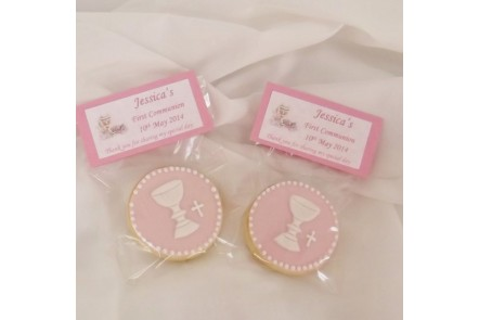 Pink First Communion Chalice Biscuits