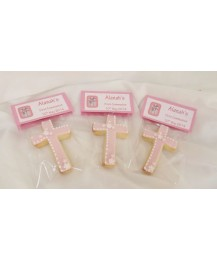 Pink First Communion Cross biscuits