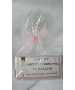 Pink Frame Girl Communion Personalised Chocolate Bar