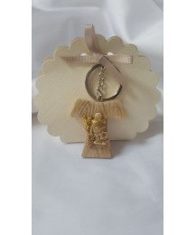 Wooden style Holy Cross Keyring Favour