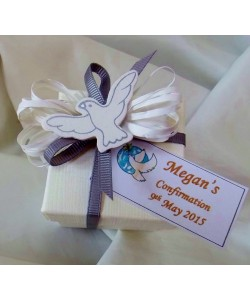 Confirmation favour box with wooden Dove peg