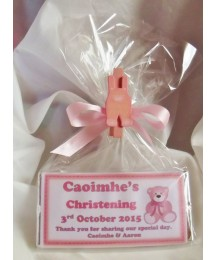 Christening girl personalised chocolate bar with teddy bear