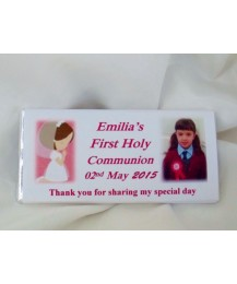 First communion Chocolate bar with Photo (Girl)