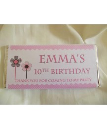 Flowers personalised chocolate bar