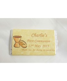 Golden First Communion personalised chocolate bar