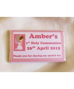 Personalized Communion chocolate in pink