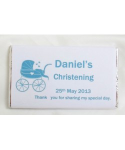 Pram personalised Christening chocolate bar